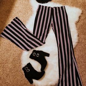 Stripe flare leg pants